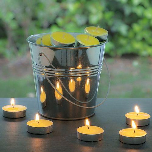 Citronelové sviečky v dekoračnom vedierku (50 sviečok)
