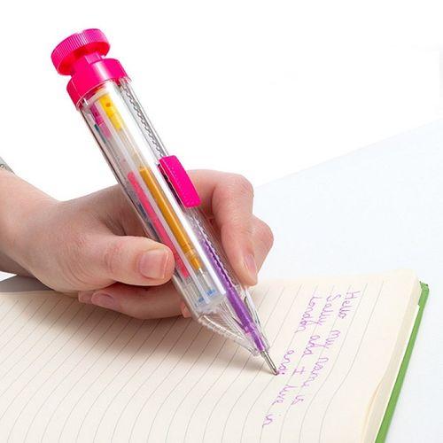 Farebné guľôčkové pero s glitrami Dúha