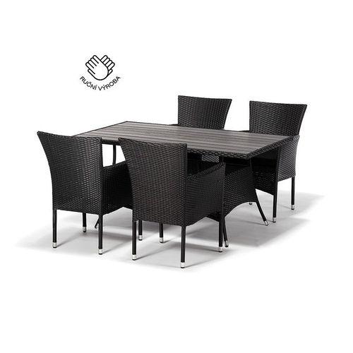 Jedálenský set FLORENCE 150 + 4 stoličky BALI antracit