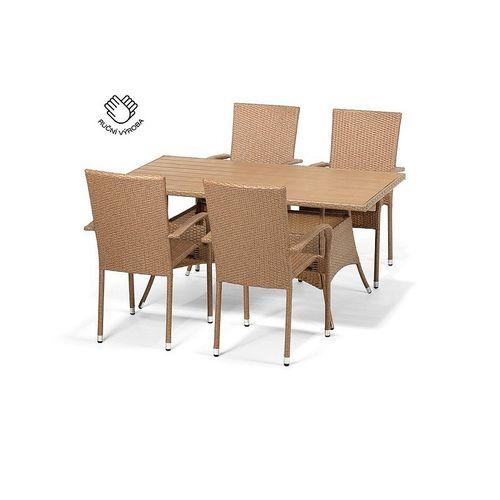 Jedálenský set FLORENCE 150 + 4 stoličky PARIS cappuccino