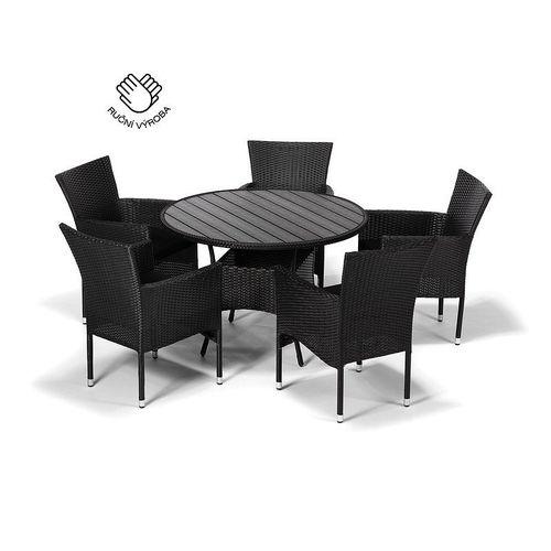 Jedálenský set NEAPOL + 5 stoličiek BALI antracit