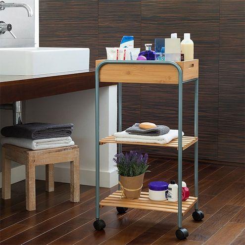 Bambusový odkladací vozík do kúpeľne