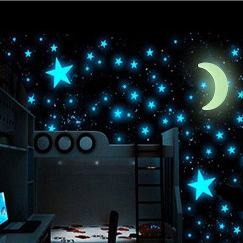 Fluorescenčný mesiac a hviezdy Universe (15 kusov)