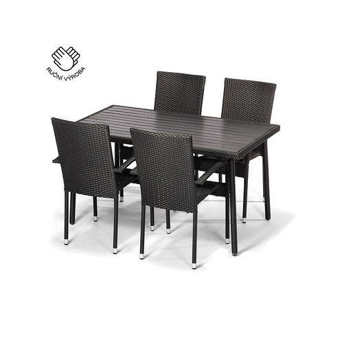 Jedálenský set PISA + 4 stoličky PARIS antracit