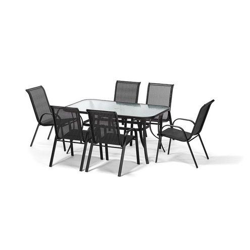Jedálenský set STANDARD XL + 6 stoličiek RAMADA, čierny