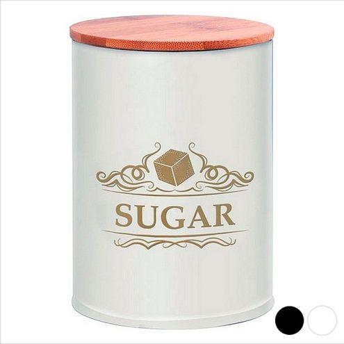 Kovová dóza na cukor, biela