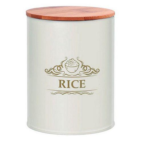 Kovová dóza na ryžu, biela