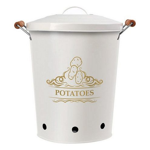 Kovové vedro na zemiaky, biele