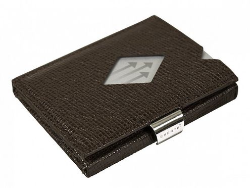 Kožená peňaženka EXENTRI mozaiková, tmavohnedá RFID block