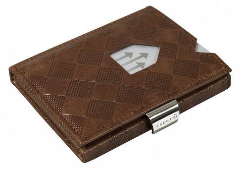 Kožená peňaženka EXENTRI šachovnicová, oriešková RFID block